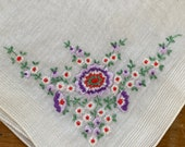 Vintage 1930s Floral Embroidered Handkerchief, 1930s Floral Embroidered Handkerchief, Floral Embroidered Handkerchief, 1930s Handkerchief