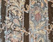"Vintage 1980s Cohama Fabrics ""Geisha"" Indienne Fabric, 1980s Cohama Geisha Fabric, Cohama Brown and Gray Indienne Fabric"