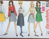 Vintage 1968 Simplicity Sewing Pattern, Simplicity Sewing Pattern 7759, Simplicity 7759, 1960s Dress Pattern
