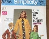 Vintage 1968 Simplicity Sewing Pattern, Simplicity Sewing Pattern 8366, Simplicity 8366, 1960s Dress Pattern
