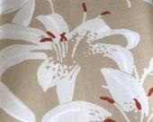 Vintage 1980s S. M. Hexter Floral Fabric Sample, S. M. Hexter Fabric Sample, Vintage Khaki Fabric, Vintage Fabric, Vintage Lilies Fabric