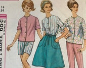 Vintage 1963 Simplicity Sewing Pattern, 1960s Simplicity Sewing Pattern 4949, Simplicity 4949, Shorts Pants and Wraparound Skirt Pattern