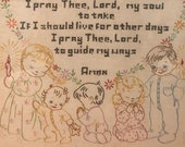 Framed Signed Vintage 1950s Alice Brooks Now I Lay Me Down To Sleep Embroidered Art