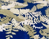 Vintage 1970s Stroheim and Roman Fern and Foliage Linen Fabric, Vintage 1970s Fern Fabric, Fern and Foliage Fabric