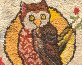 Vintage Owl Hooked Rug, Owl Hooked Rug, Small Owl Hooked Rug Hanging