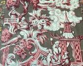"Vintage 1960s Cohama Fabrics Handprinted ""Chinois"" Fabric, Vintage Silk Chinoiserie, Vintage Chinoiserie Fabrics"
