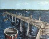 Vintage Boat Dock Painting, Dock Painting, Vintage Boat Painting, D H Painting