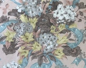 Vintage 1950s Jack Valentine Fabric Sample, Floral Fabric Sample, Vintage Chintz Floral Fabric Sample