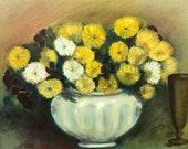 Vintage Charlottesville Artist Yellow Flowers Painting