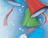 Vintage 1940s Bells Christmas Card, Vintage Bells Christmas Card, Bells Card, Christmas Card Service, Vintage Bells Card, Vintage Xmas Card