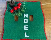 Vintage 1950s Homemade Wool Felt Christmas Light Switch Plate Cover, Vintage Christmas Light Switch Plate Cover, Vintage Christmas Decor