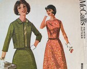 Vintage 1961 McCalls Sewing Pattern, McCalls Sewing Pattern 6074, McCalls 6074, 1960s Suit Pattern, Vintage Sewing Pattern, Sewing Pattern