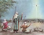Vintage 1940s Shepherds Christmas, Vintage Bethlehem Christmas Card, Christ Birth Card, Vintage Religious Christmas Card, Vintage Xmas Card