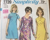 Vintage 1968 Simplicity Sewing Pattern, Simplicity Sewing Pattern 7720, Simplicity 7720, 1960s Dress Pattern