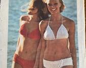 Vintage 1974 Simplicity Crocheted Bikini Pattern, Simplicity Crochet Pattern 6377, Simplicity 6377, 1970s Bikini Pattern, Bikini Pattern