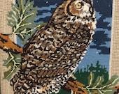 Vintage Framed Needlepoint Owl