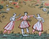 """Vintage 1962 Greeff """"Dancing Figures"""" American Legacy II Collection Fabric Sample, Greeff Dancing Figures Fabric Sample, Vintage Fabric"""