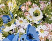 Vintage 1970s Jack Valentine Flower Power Fabric Sample, Flower Power Fabric Sample, Vintage Cotton Floral Fabric, Flower Power Fabric