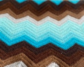 Vintage 1970s Turquoise and Brown Lap Afghan, 1970s Blue and Brown Lap Afghan, Vintage Lap Blanket, Vintage Lap Afghan