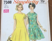 Vintage 1968 Simplicity Sewing Pattern, Simplicity Sewing Pattern 7598, Simplicity 7598, 1960s Dress Pattern