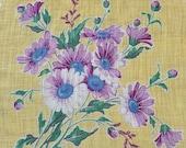 Vintage 1930s Purple Daisy Floral Handkerchief, 1930s Daisy Handkerchief, Daisy Handkerchief, 1930s Handkerchief, Vintage Handkerchief