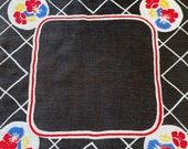 Vintage 1920s Black Floral Handkerchief, 1920s Black Floral Handkerchief, Black Floral Handkerchief, 1920s Handkerchief