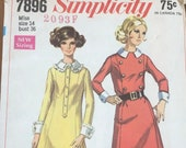 Vintage 1968 Simplicity Sewing Pattern, Simplicity Sewing Pattern 7896, Simplicity 7896, 1960s Dress Pattern