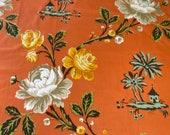 Vintage 1950s Scalamandré Silks Floral Chinoiserie Fabric Sample, Vintage Scalamandré Chinoiserie Fabric, Vintage Chinoiserie