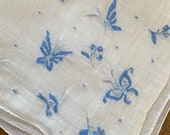 Vintage 1920s Butterfly and Floral Embroidered Handkerchief, 1920s Butterfly and Floral Embroidered Handkerchief, Butterfly Handkerchief