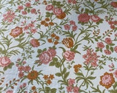 Vintage 1960s Stroheim and Roman Floral Fabric Sample, Vintage 1960s Tulip Fabric, Vintage Tulip and Roses Fabric