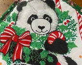 Vintage Christmas Panda Pot Holder, Christmas Panda Pot Holder, Vintage Pot Holder