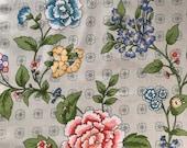 Vintage 1990s Jack Valentine Fabric Sample, Kansu Fabric Sample, Vintage Cotton Floral Fabric Sample