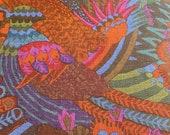 "Vintage 1960s Boris Kroll ""Rima"" Fabric Sample, Vintage 1960s Boris Kroll Psychedelic Fabric, Vintage Abstract Bird Fabric"