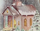Vintage 1940s Church Christmas Card, Vintage Chapel Christmas Card, Winter Church Christmas Card, Christmas Card Service