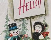 Vintage 1940s Snowmen Christmas Card, Vintage Snowmen Christmas Card, Snow People Christmas Card, Christmas Card Service