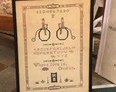Vintage Framed Sampler, 1927 Sampler, Signed and Dated Sampler, Vintage Bike Sampler, Penny Farthing