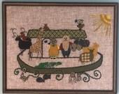Vintage Noah's Ark Crewel Work, Noah's Ark Crewel Work, Vintage Crewel Work