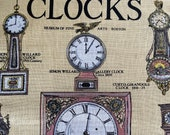 Vintage Museum of Fine Arts Boston Clocks Tea Towel, Vintage 1970s Clocks Tea Towel, Clock Tea Towel, Tea Towel