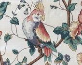Vintage 1980s Fairmont Fabrics Parrot Fabric Sample, Vintage Parrot Fabric, Vintage Parrot Fabric Sample