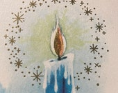 Vintage 1940s Candle Christmas Card, Vintage Candle Christmas Card, Candle Card, Christmas Card Service, Vintage Candle Card
