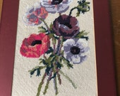 Vintage Matted Pansies Needlepoint, Pansies Needlepoint, Pansy Needlework