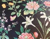 Vintage B Berger Black Floral Chintz Fabric Sample, Chintz Floral Fabric, Indienne Floral Chintz, Grandmillennial Chintz