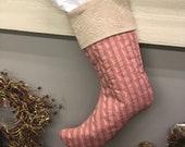 Christmas Stocking / Pink Christmas Stocking / Maximalist Christmas / Maximalism Christmas / Upcycled Stocking