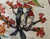 Vintage 1980s Australia Souvenir Native Birds and Flowers Tablecloth, Australia Tablecloth, Vintage Australian Birds and Flowers Tablecloth