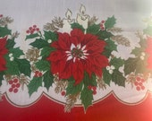 Vintage Sunweave Christmas Poinsettia and Candles Tablecloth, Vintage Poinsettia and Candles Tablecloth, Vintage Christmas Tablecloth