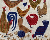 Vintage Stevens Linen Chicken Tea Towel, Vintage Chickens Tea Towel, Chicken and Rooster Tea Towel