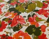 Vintage 1960s Chartreuse and Orange Floral Logantex Original Crepe Fabric, Vintage Mod Floral Fabric, Vintage Wool Silk Floral Crepe Fabric