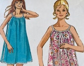 Vintage 1971 Simplicity Nightgown Sewing Pattern, Simplicity Sewing Pattern 9322, Simplicity 9322, 1970s Nightgown Pattern, 1970s Night Gown
