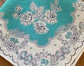 Vintage 1940s Turquoise Floral Handkerchief, 1940s Turquoise Handkerchief, Floral Handkerchief, Vintage Handkerchief