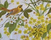 Vintage 1960s Thibaut Bird and Butterfly Fabric, 1960s Thibaut Fabric, Vintage Fern Fabric